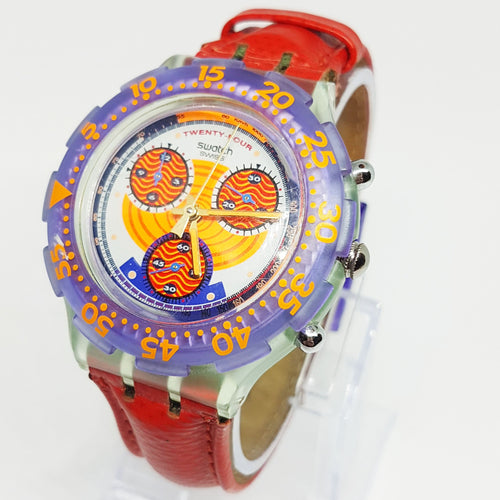 1993 Vintage Swatch Aquachrono Chronograph SBG100 Watch Red Harbour