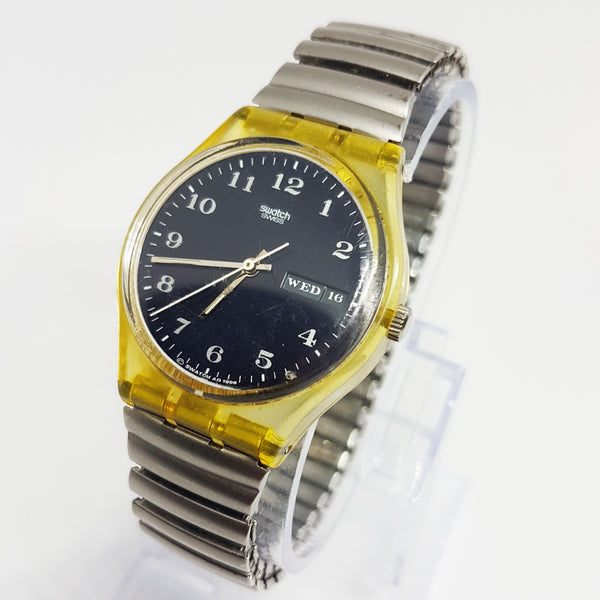 Vintage Swiss Made 1996 Classic Swatch Watch Dual Date Black Dial
