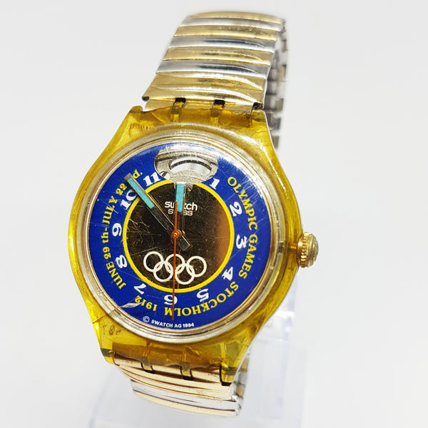 1994 Swatch SAZ103 Automatic Watch Olympic Special Stockholm 1912 Edition