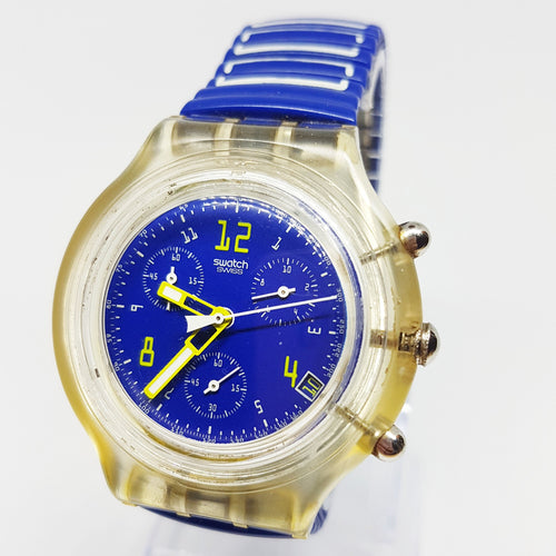 1996 Blue & Yellow Swatch Chrono Scuba Watch | Best 90s Swatch Chrono