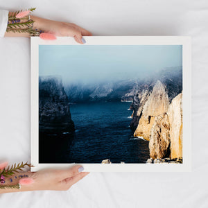 Ocean Cliffside Digital Print | Natural Landscapes Printable Wall Art - Vintage Radar