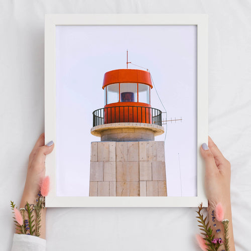 Red Lighthouse Digital Print | Minimalist Lighthouse Printable Art - Vintage Radar