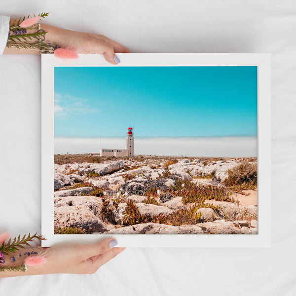 Tropical Island Lighthouse Landscape Print | Printable Wall Art - Vintage Radar