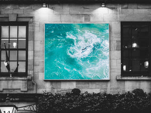 Turquoise Ocean Waves Print | Tropical Blue Printable Wall Art - Vintage Radar