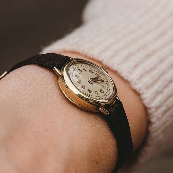 1950s Vintage Gold-Plated Watch - Antique Ladies' German Wristwatch