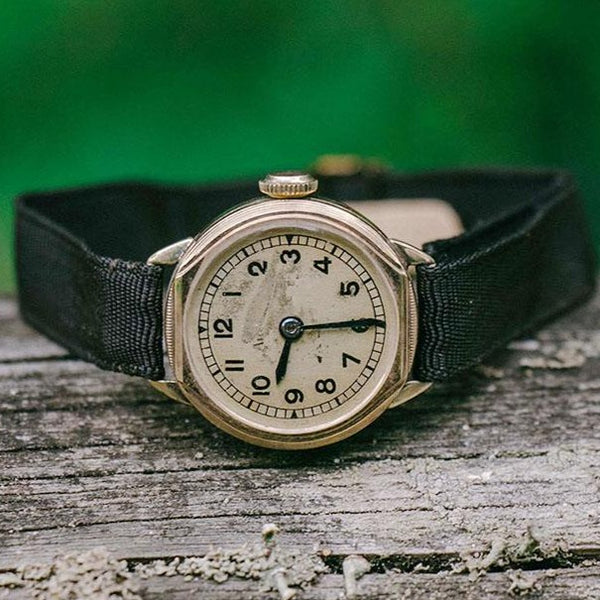 Gold-Plated Vintage German Watch - 1940s Art Deco Antique Ladies Watch
