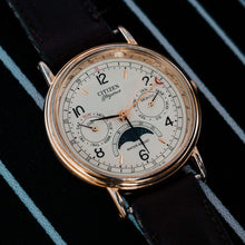 Load image into Gallery viewer, Rare Citizen Elegance 6350-G30241 Triple Calendar Moon Phase Watch