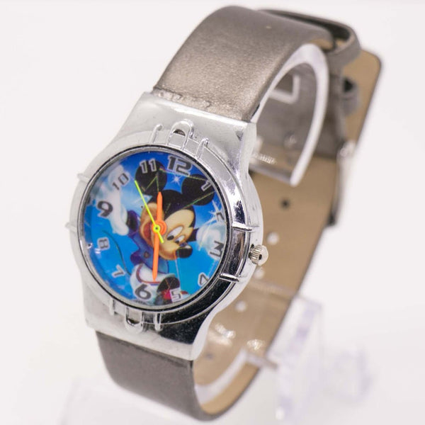 Blue Mickey Mouse Vintage Watch - Silver-tone Disney Unisex Watch