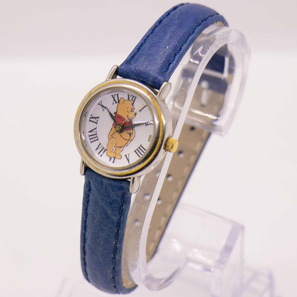 Timex Winnie the Pooh Vintage Watch with Roman Numerals & Blue Strap