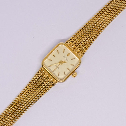 Vintage Tubular Elgin Quartz Watch | Elegant Gold-tone Women's Watch - Vintage Radar