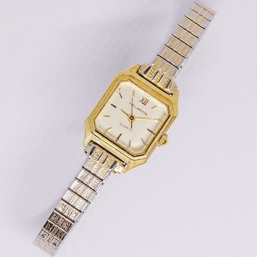 Gold-tone Helpns Watch Court Watch | MHels Square الشكل Helbros Watch-Vintanage Radar