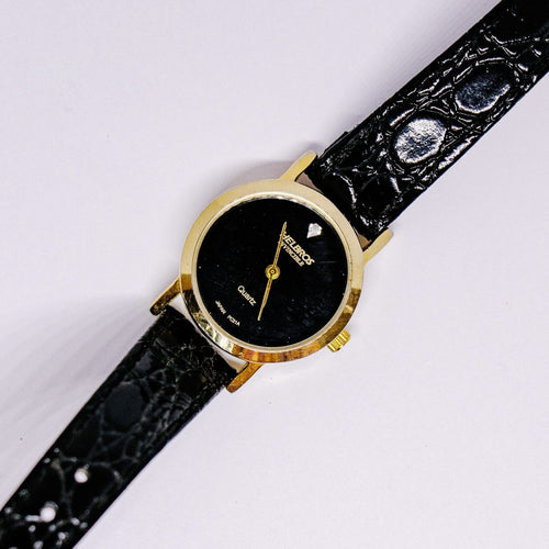 Black & Gold-tone Helbros Watch | Ladies Helbros Invincible Quartz Watch - Vintage Radar
