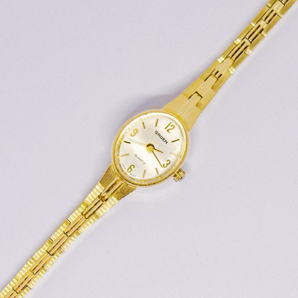 Luxury Gold-tone Gruen Quartz Watch | Women's Gold-tone Jewelry - Vintage Radar