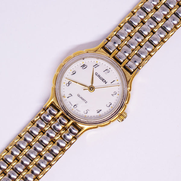 Two-tone Gruen Quartz Watch | Luxury Elegant Occasion Watches - Vintage Radar