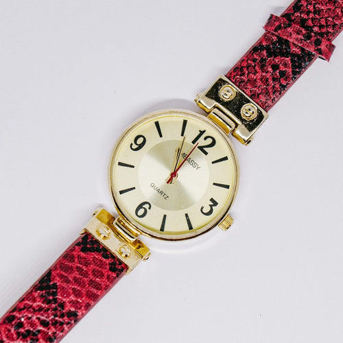 Gold-tone Embassy by Gruen Quartz Watch | Ladies Red Bracelet Watch - Vintage Radar