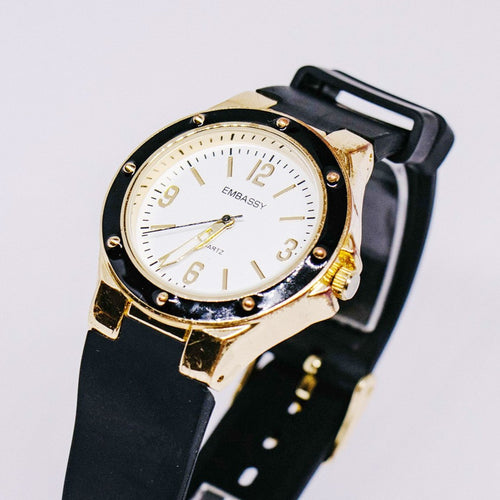 Black & Gold Embassy by Gruen Quartz Watch | Luxury Office Ladies Watch - Vintage Radar