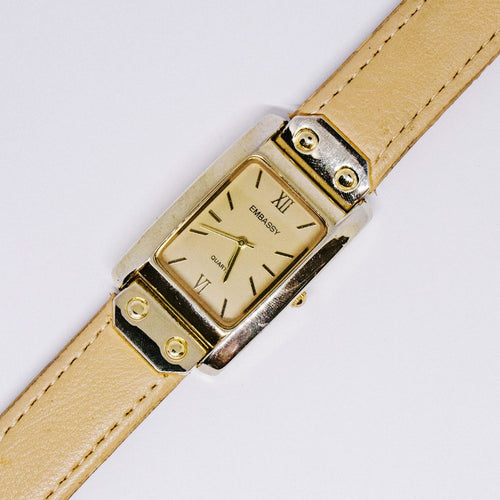 Square Embassy by Gruen Quartz Watch | Beige & Gold Ladies Watch - Vintage Radar