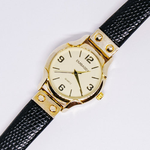 Gold-tone Quartz Embassy by Gruen Watch | Minimalist Women's Watch - Vintage Radar