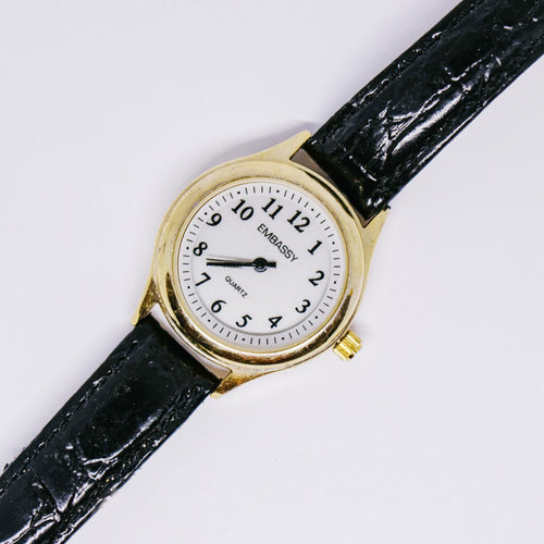 Minimalist Gold-tone Embassy Quartz Watch | Vintage Women's Watches - Vintage Radar
