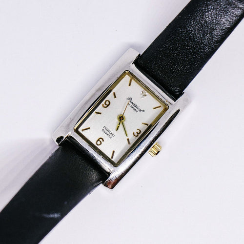 Square Dial Precision by Gruen Watch | Silver-tone Diamond Quartz Watch - Vintage Radar