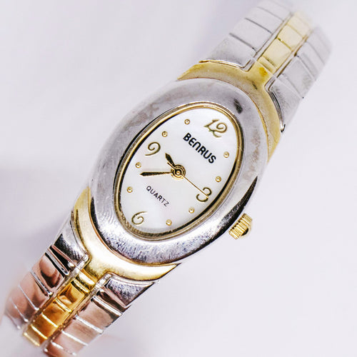 Tiny Benrus Ladies Quartz Watch | Two-tone Bracelet Watch for Women - Vintage Radar