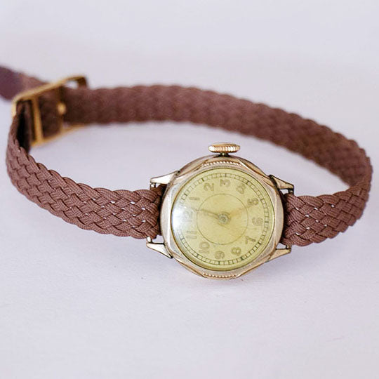 RARE 1960s Vintage Gold-Plated Women's German Watch with Yellow Dial