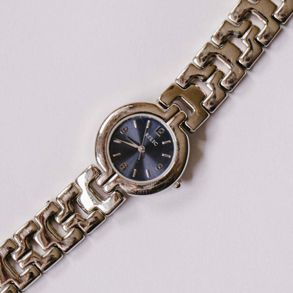 Blue Dial Relic Quartz Watch | Silver-tone Luxury Ladies Fossil Watch - Vintage Radar