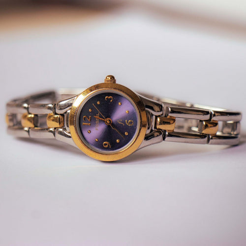 Navy Blue Tiny Fossil Watch for Ladies | Two-tone Fossil Quartz Watch - Vintage Radar
