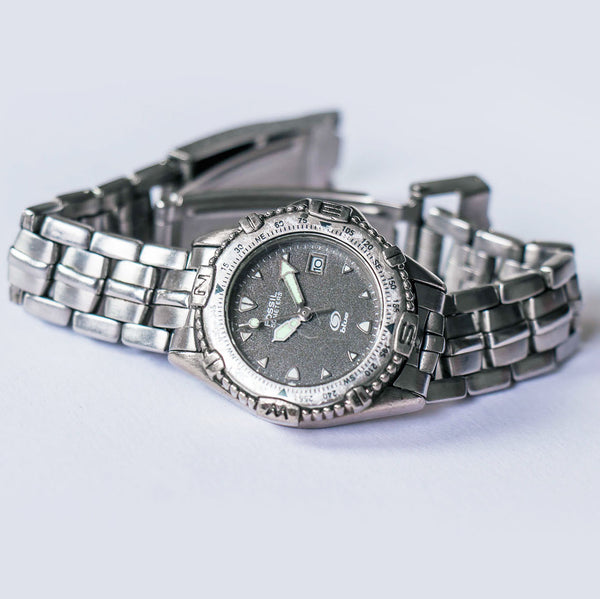 Silver-tone Fossil Blue Watch | Unisex Fossil Watch Small Wrist Sizes - Vintage Radar