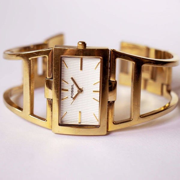 Gold-tone Fossil Ladies Watch | Unique Gold-tone Fossil Bracelet - Vintage Radar
