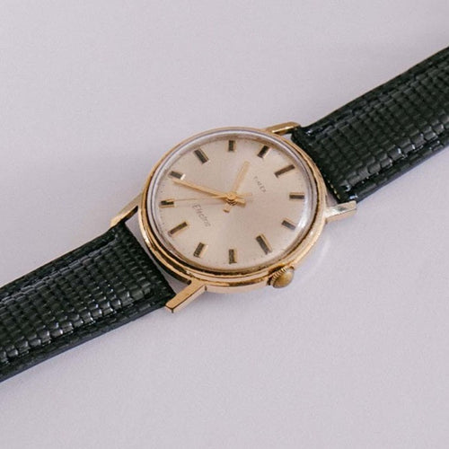 1980s Gold Timex Electric Watch | 34mm Rare Vintage Timex Wristwatch