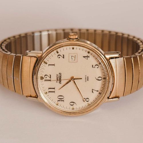 Vintage 1990s Gold Timex Indiglo Date Watch | 90s Elegant Timex Watch