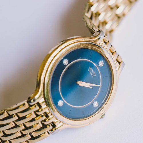 Vintage Gold-tone 7N00-7A29 Seiko Watch | Blue Dial Seiko Quartz Watch - Vintage Radar