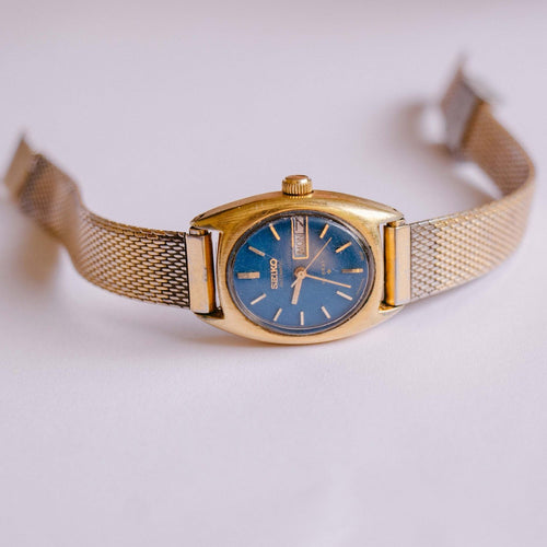 Blue Dial Seiko Hi-Beat Automatic Watch For Women | Date Day Seiko Watch - Vintage Radar