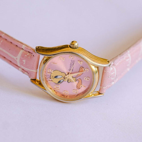 Gold-tone & Pink Tweety Bird Watch | 90s Vintage Armitron Watch