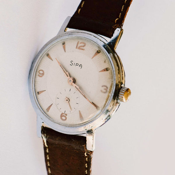 Silver-Tone Sipa Mechanical Vintage Watch | Minimalist Vintage Watches - Vintage Radar