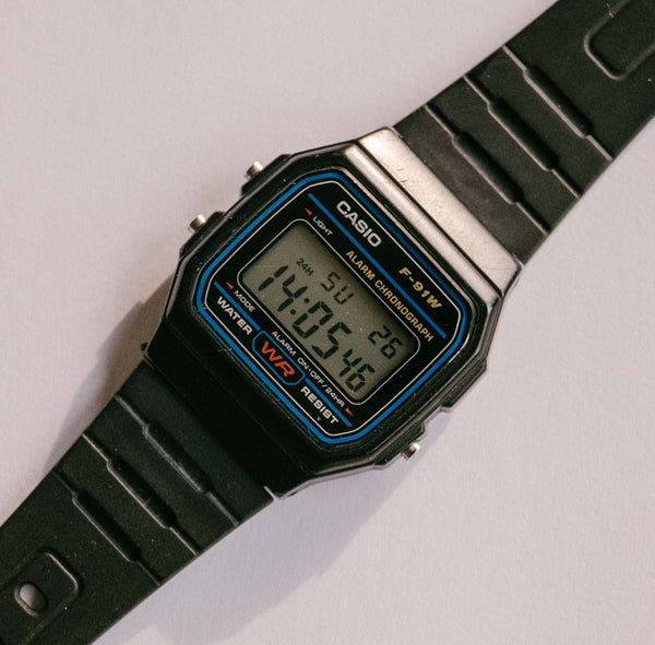 F-91W Vintage Casio Watch  Classic Alarm Chronograph Casio Watch