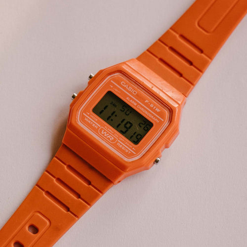 Orange Casio F-91W Alarm Chronograph WR Quartz Watch