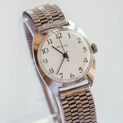 Raketa Silver-Tone Mechanical Watch | Vintage Watch Made in USSR