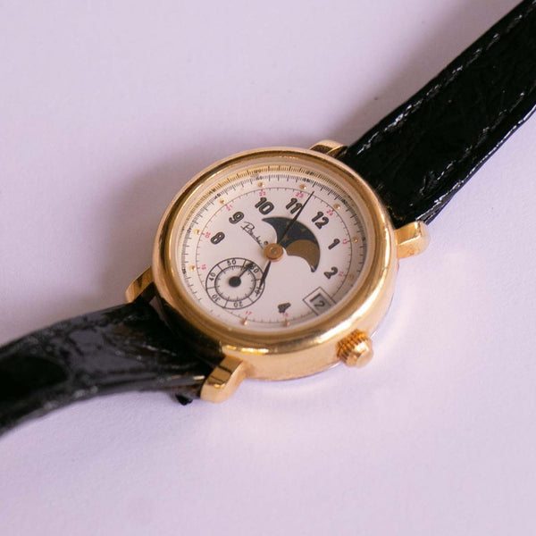 Gold-tone Piranha Moon Phase Ladies Quartz Watch Vintage
