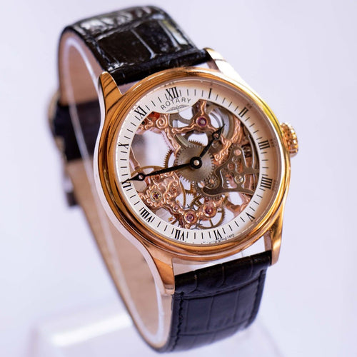 Men's Rotary Skeleton Mechanical Watch | Luxury Vintage Swiss Watches