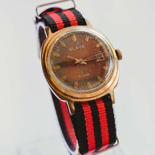 Slava 21 Jewels Soviet Mechanical Watch | 80s Vintage USSR Gold Watch
