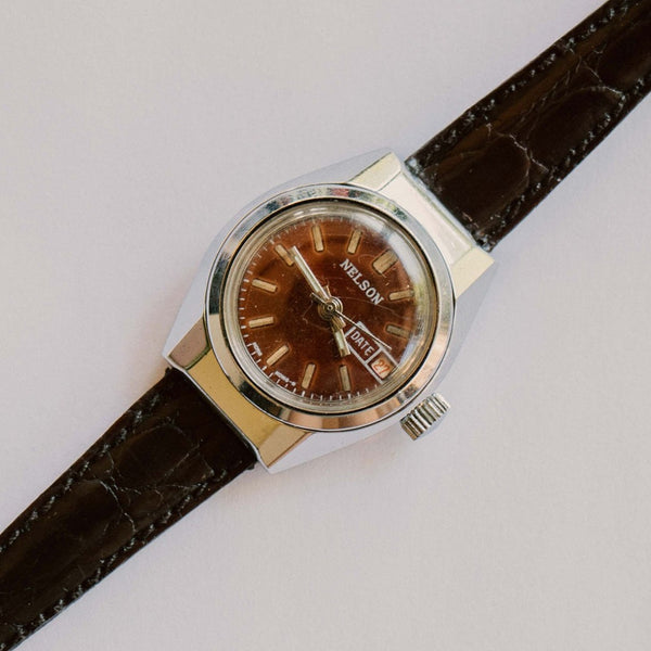 NELSON Brown Leather Vintage Mechanical Watch | Best Men's Watches