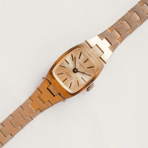 Anker 17 Jewels Gold-Tone Mechanical Watch | Ladies Windup Watch
