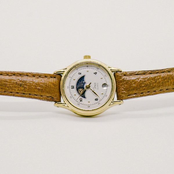 Timex Quartz Moon Phase Watch | Gold-tone Moonphase Watch