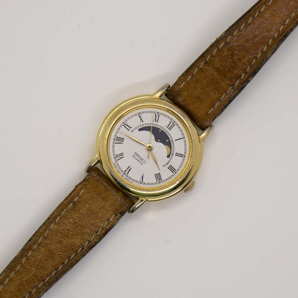 Vintage Seiko Moon Phase Watch 'Bae124; Luxury Gold-tone Watches'