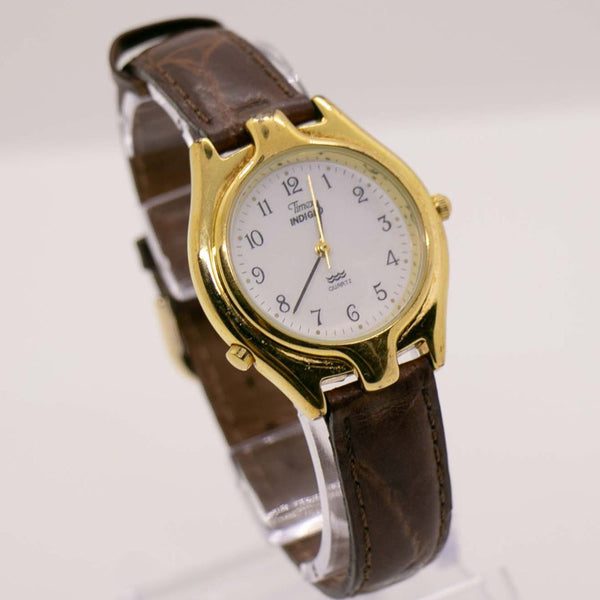 Gold-Tone Unusual Timex Indiglo Watch 1990s Retro Watch Design