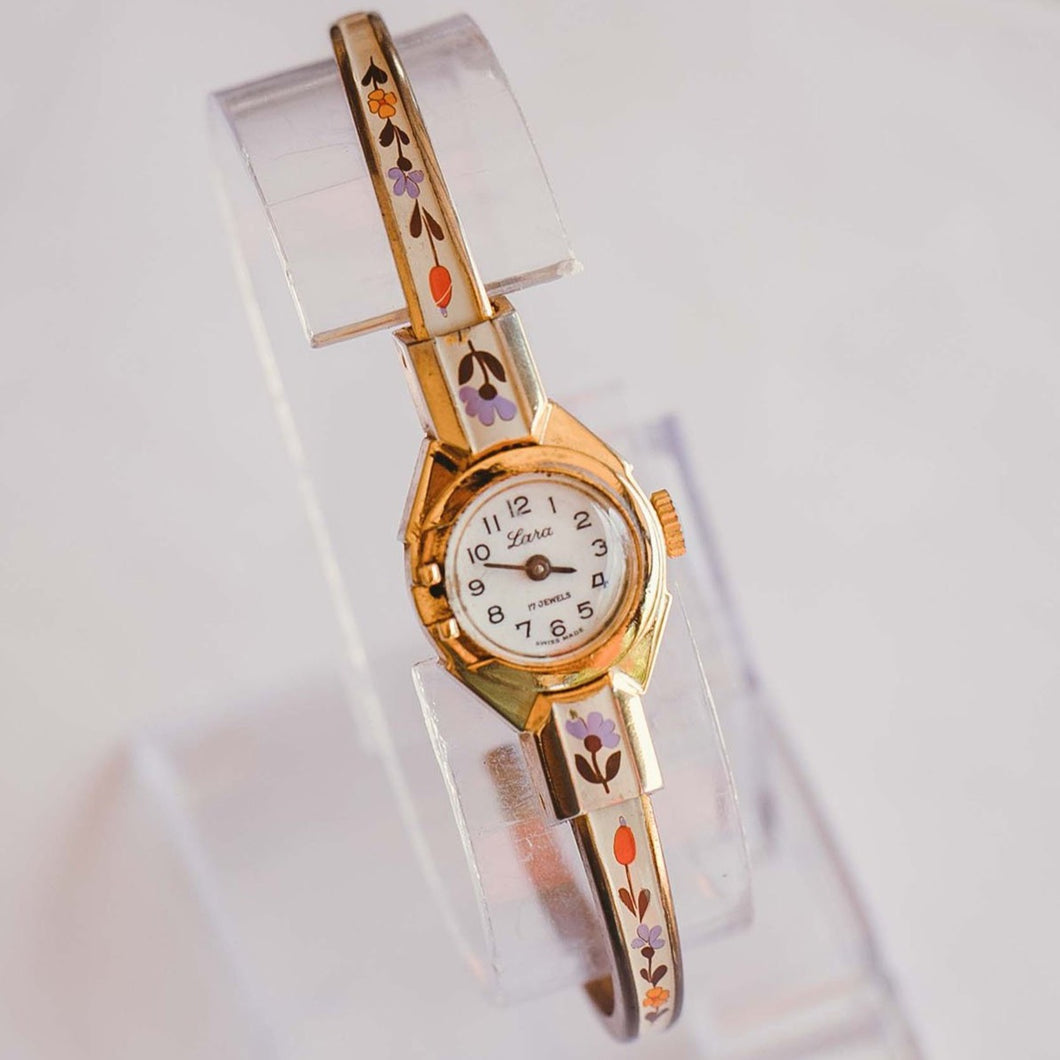 Swiss-Made Lara Mechanical Watch with Floral Details | Unique Watches - Vintage Radar