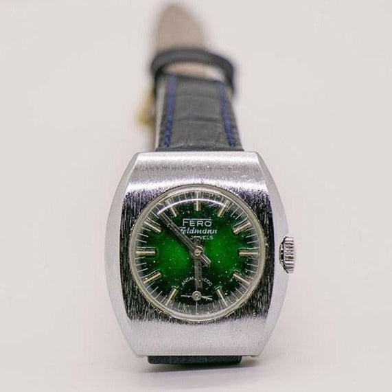 Fero Feldmann 17 Jewels Swiss Made Green Dial Watch for Women 1980s