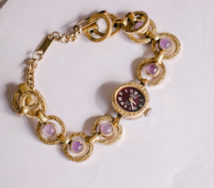 Gold-Tone Anker Vintage Ladies Watch with Purple Stones | German Watches